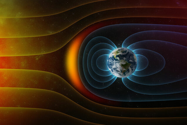Scientific illustration showing Earth's magnetic field deflecting solar winds from the sun.