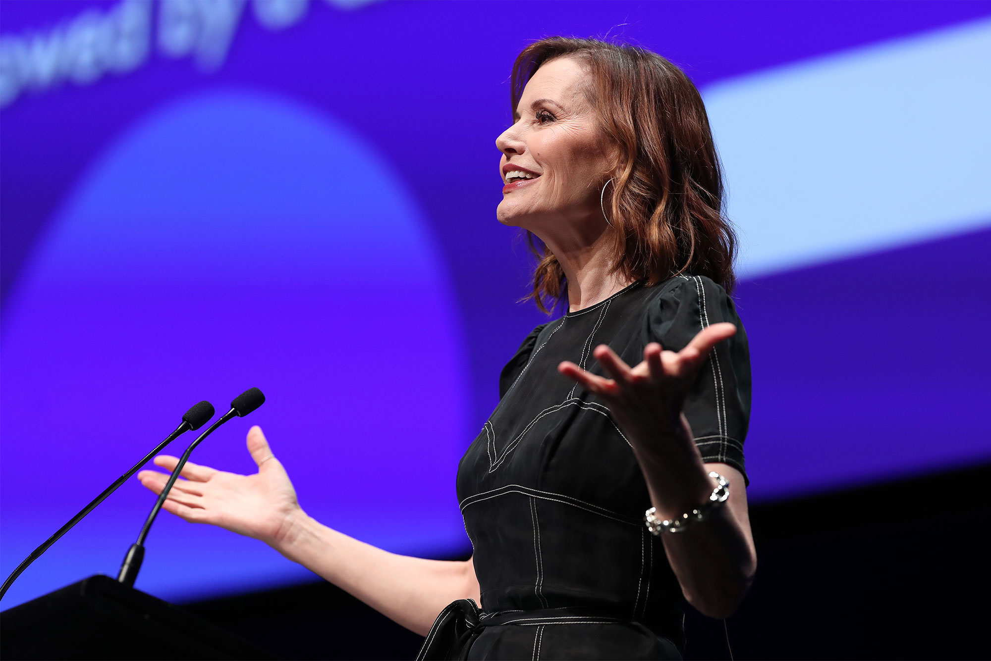 Geena Davis delivers the keynote address at the 2019 Power of Inclusion Summit