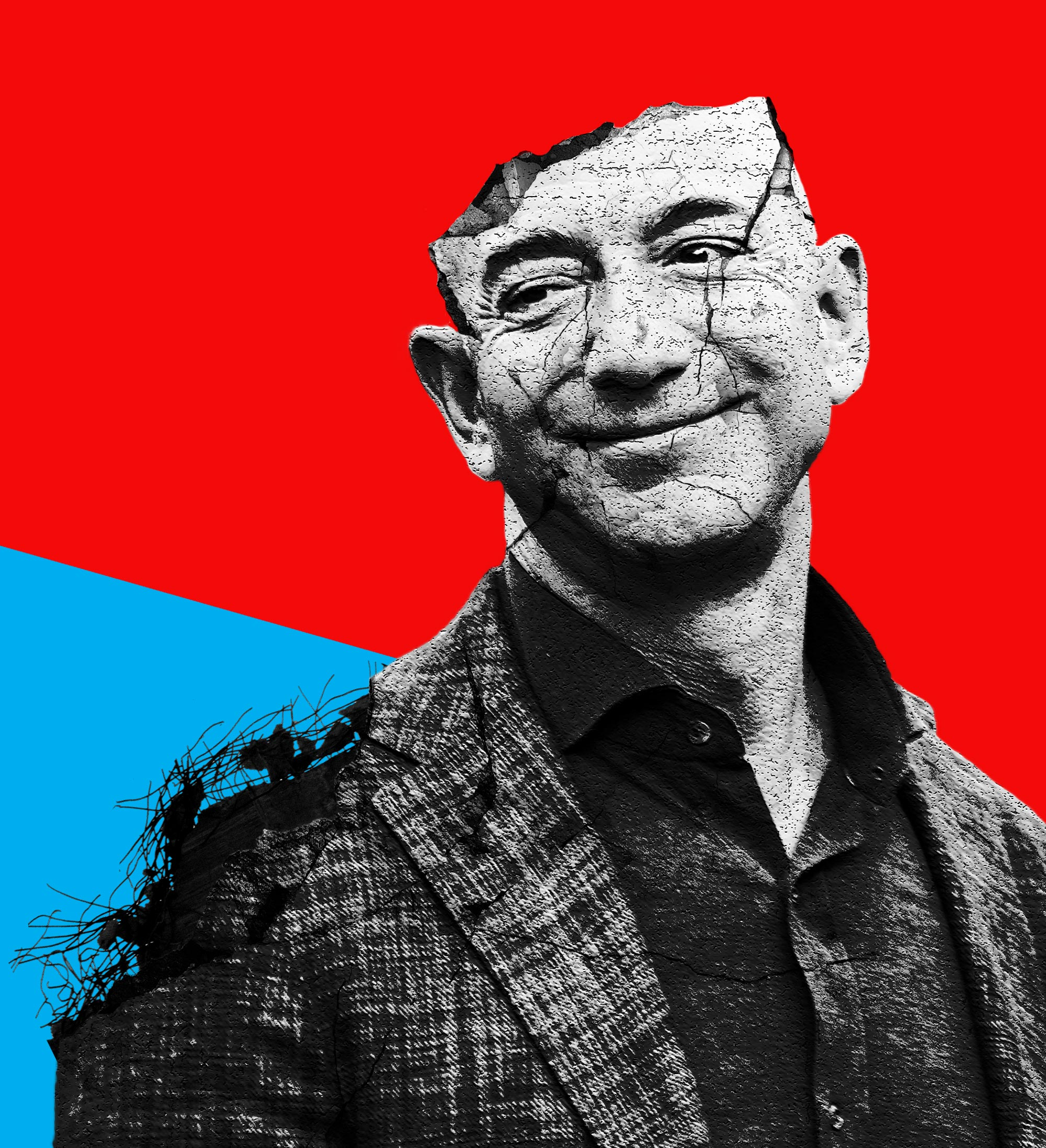 Illustration of Amazon's Jeff Bezos being demolished like a building representing the idea of breaking up big tech companies.