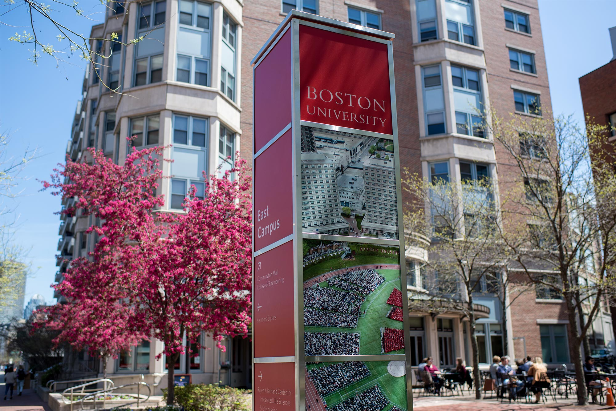 View of wayfinding signage on the Boston University Charles River Campus East.