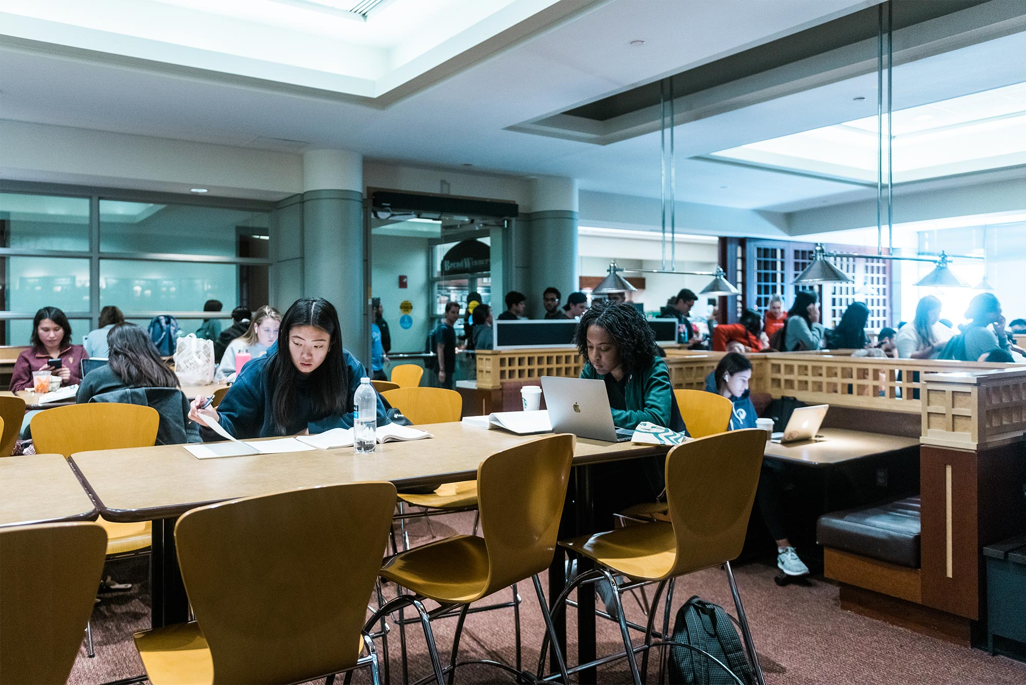 Boston University students study in a study lounge on campus.