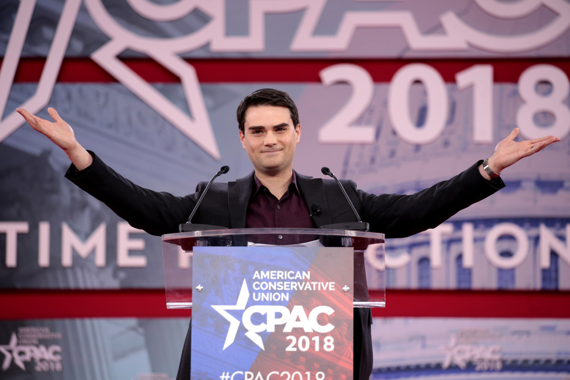Ben Shapiro speaking at the 2018 Conservative Political Action Conference (CPAC) in National Harbor, Maryland.