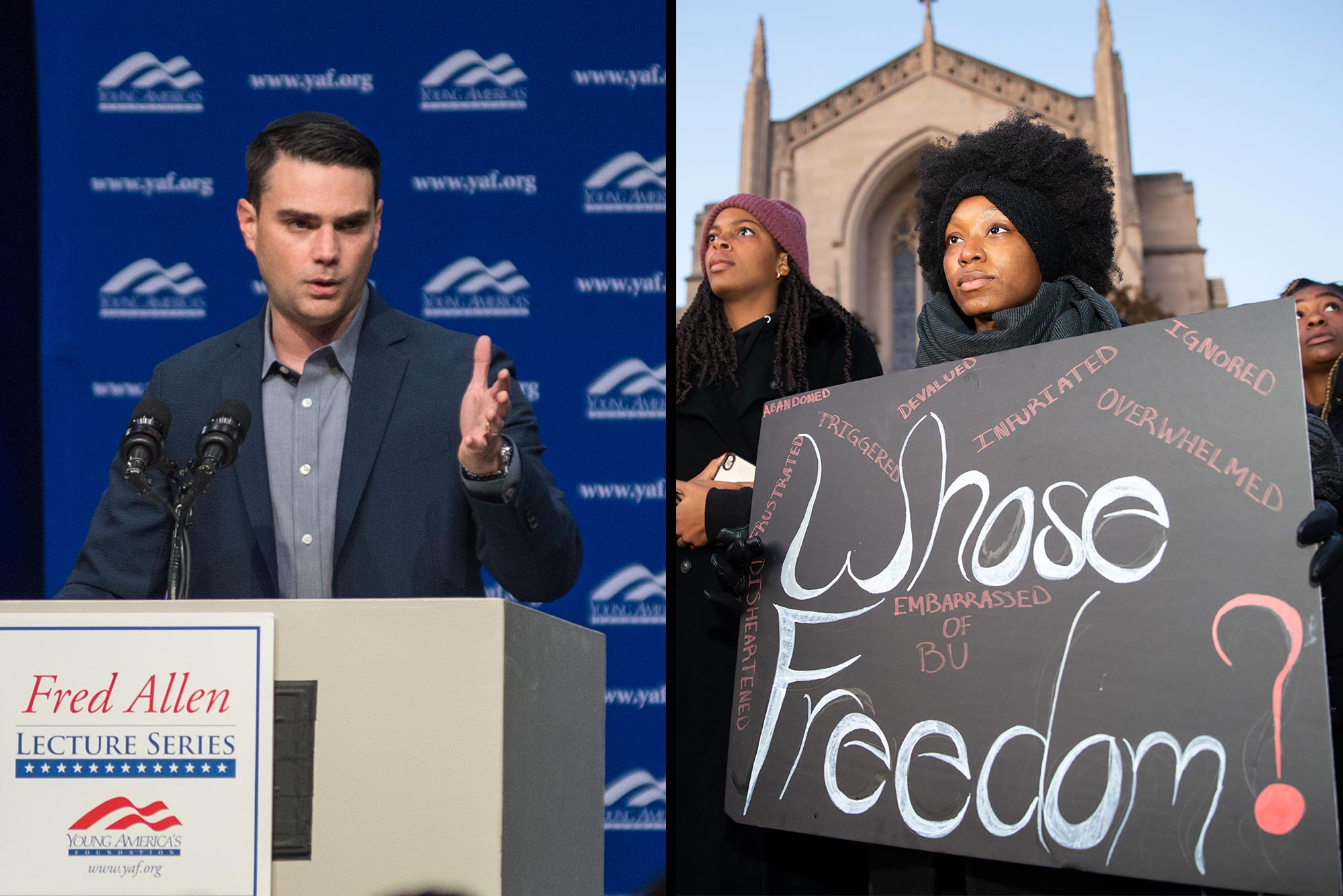 Composite image showing conservative commentator Ben Shapiro delivering a speech at Boston University (left) and African American protestors holding a sign that says 'Whose Freedom?' while demonstrating against Shapiro's appearance at BU.