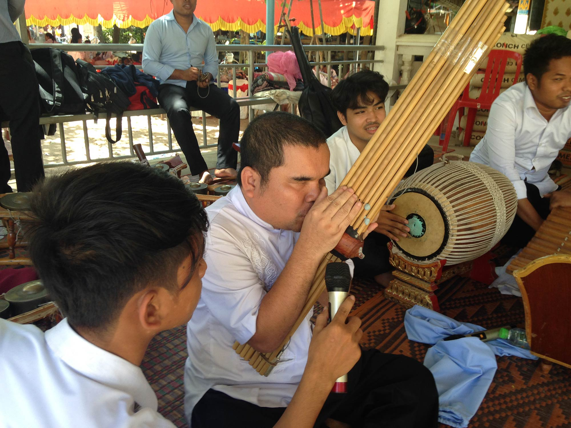 Cambodian musicians perform traditional cambodian music and chant in Cambodia.