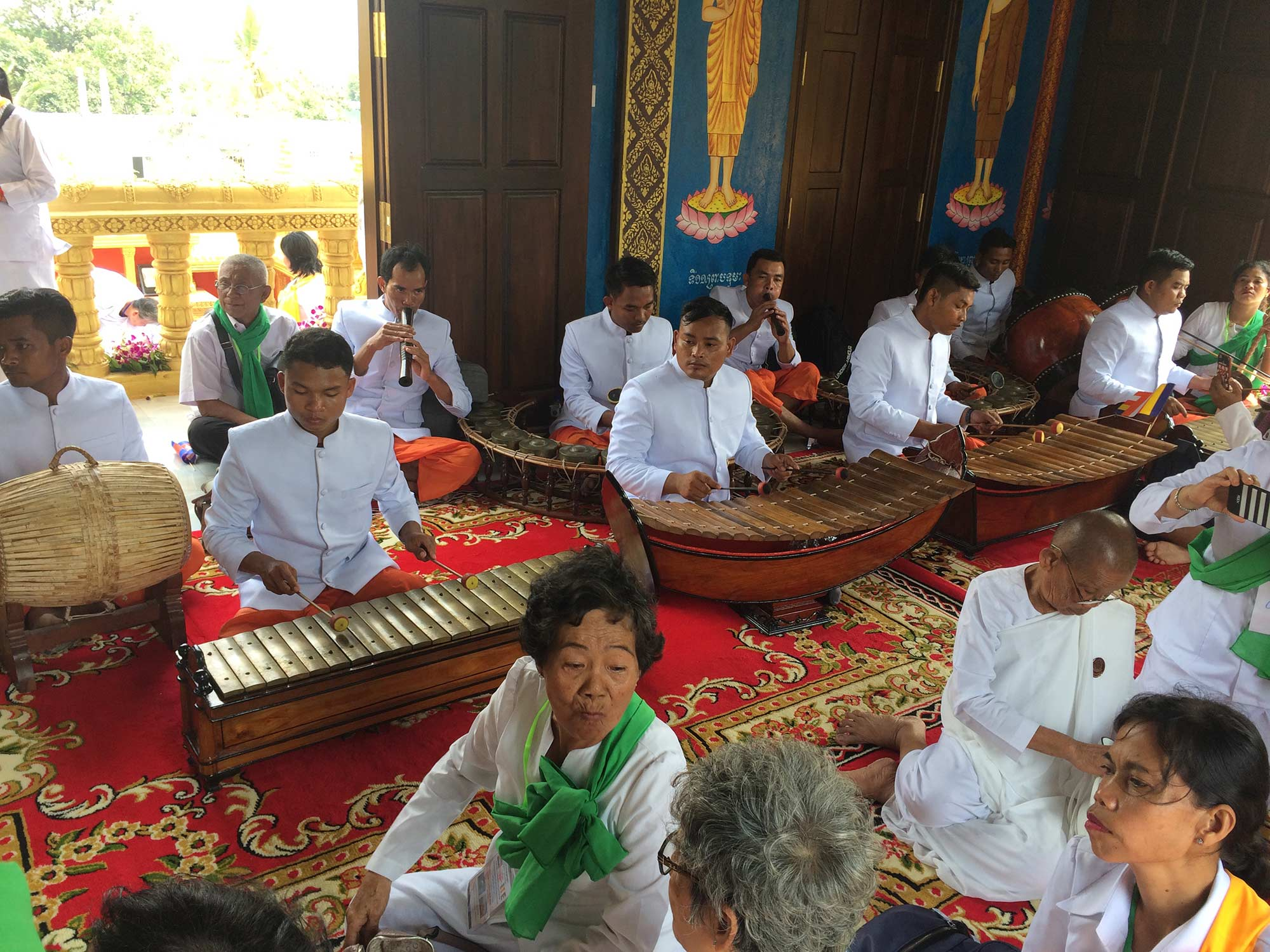 Cambodian musicians perform traditional cambodian music and chant.