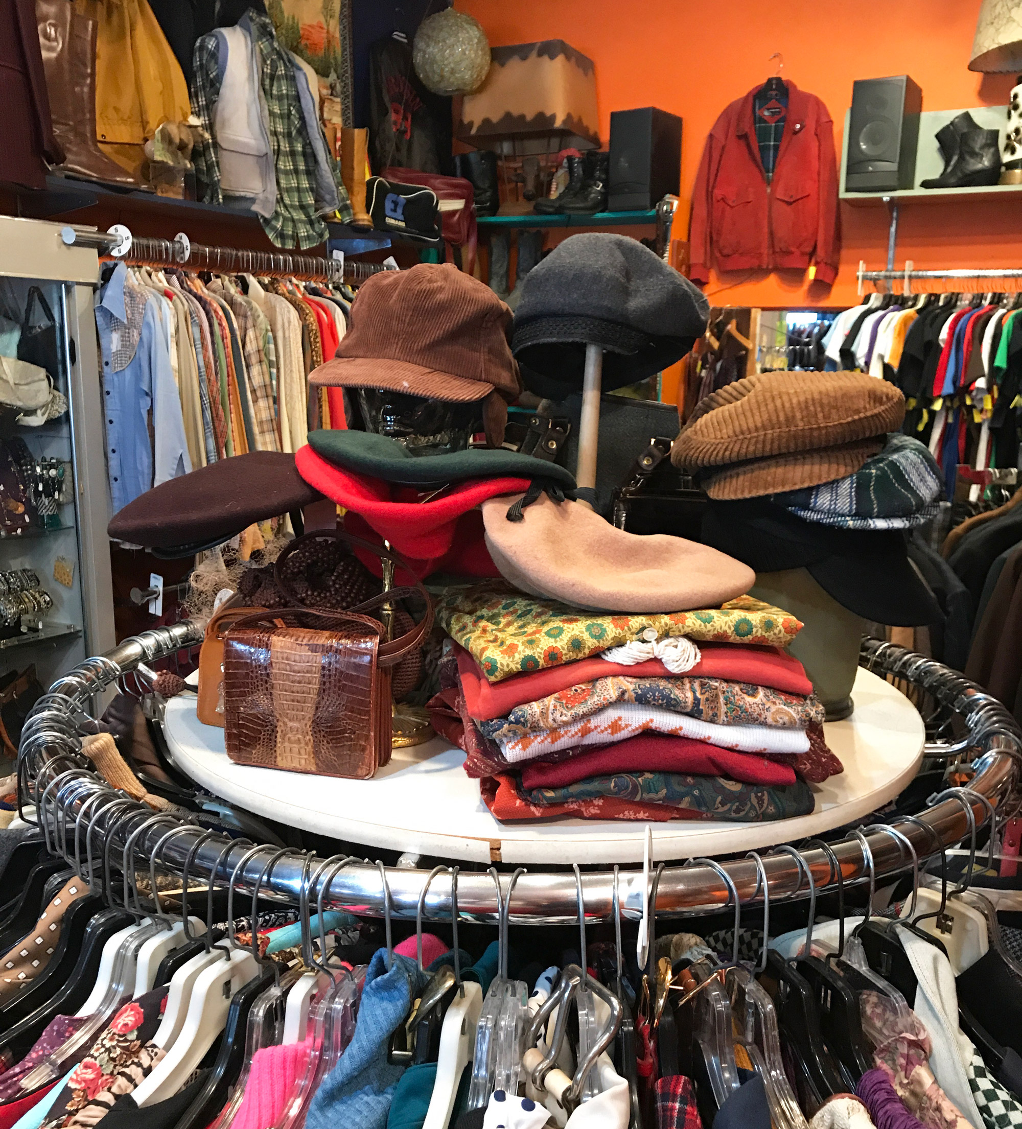 Clothing and hats at 40 south street consignment shop