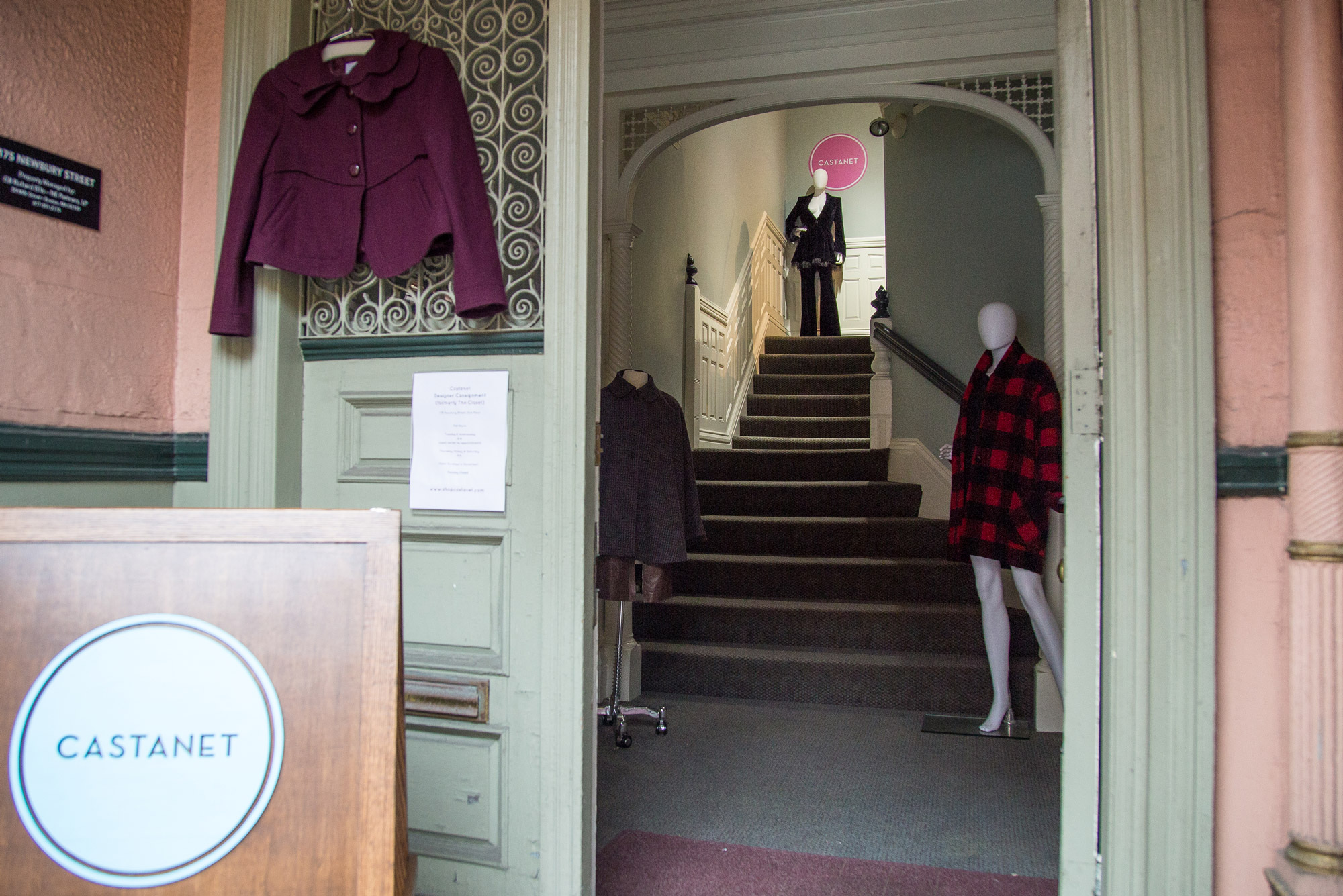 Stylish mannequins line the stairs leading up to Castanet