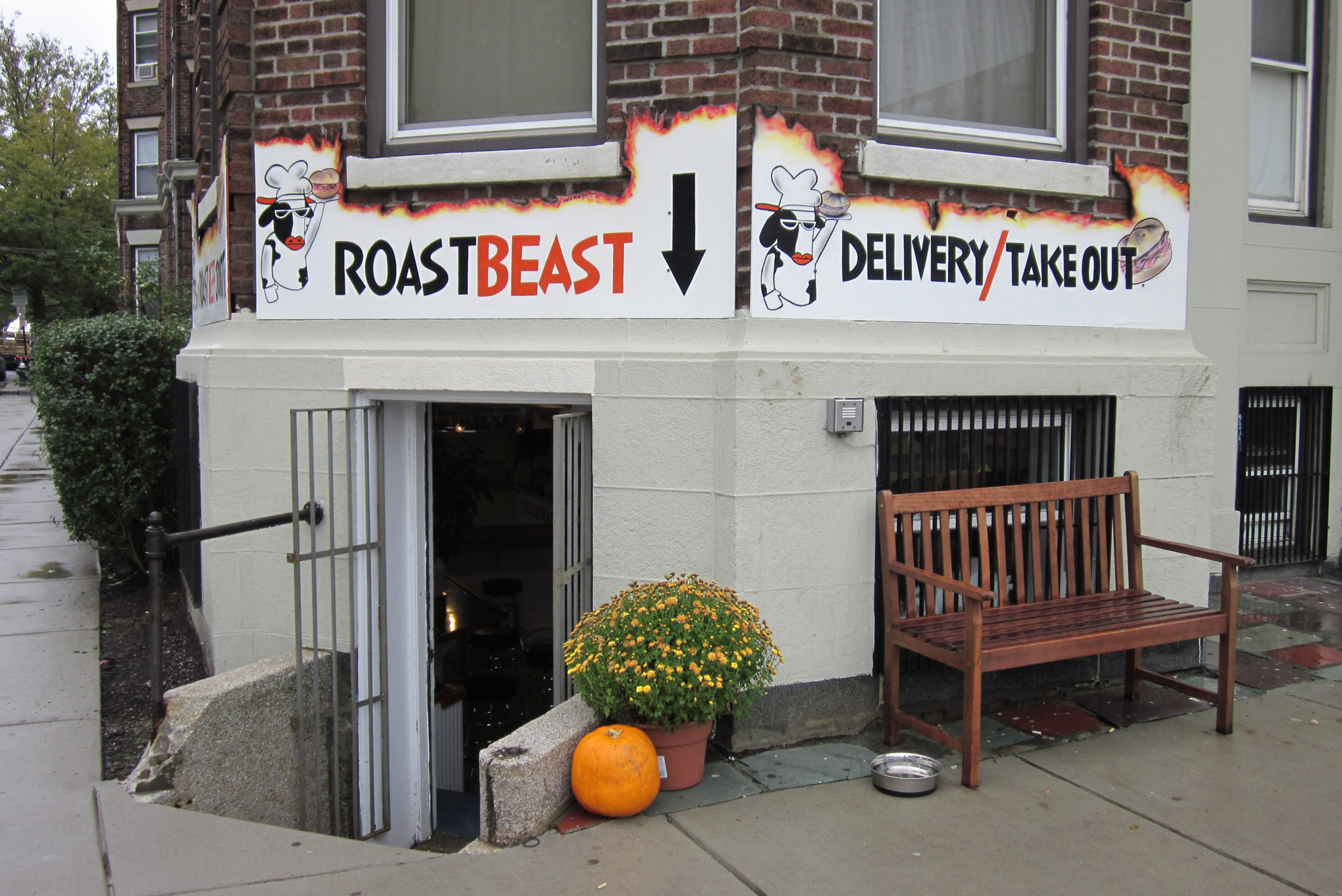 The exterior of Roast Beast, the popular Comm Ave sandwich shop