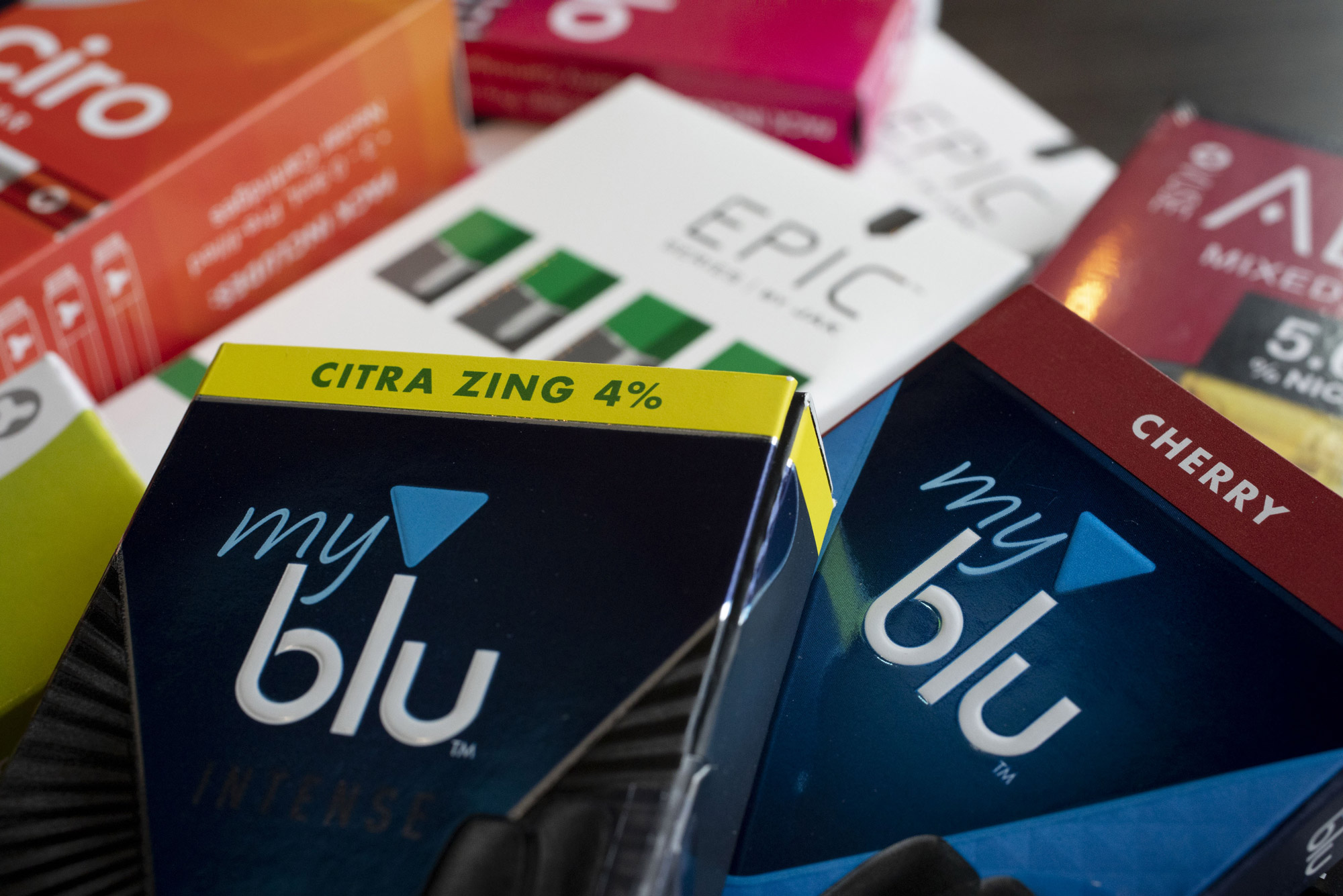 A variety of flavored e-cigarette refills
