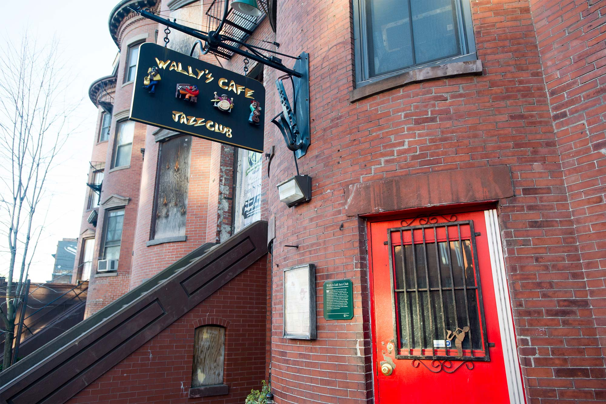 Exterior view of Wally's Cafe jazz club located at 427 Massachusetts Ave. in Boston.