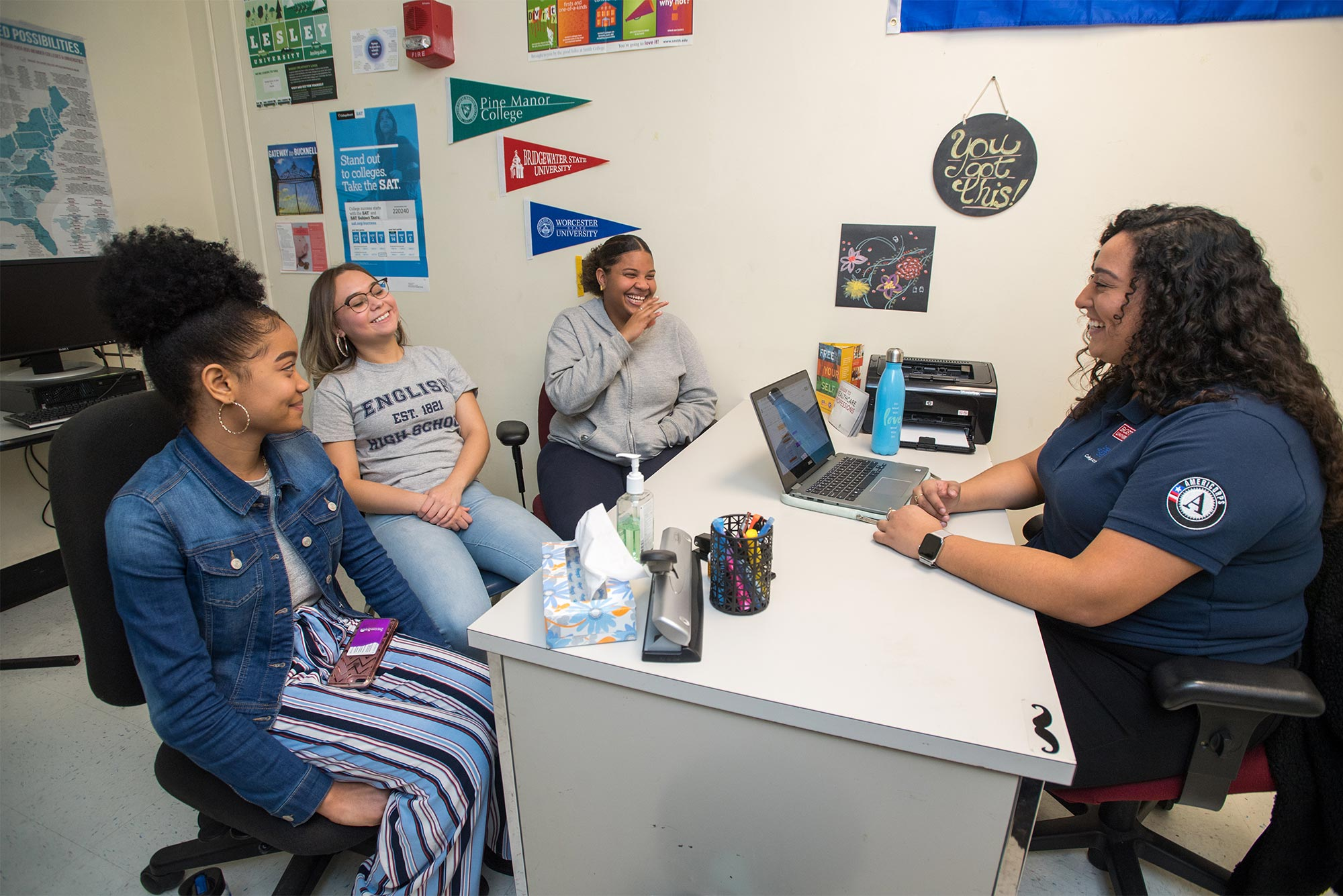 Senior students at English High School in Jamaica Plain, MA, meet with their College Advising Corps advisor.