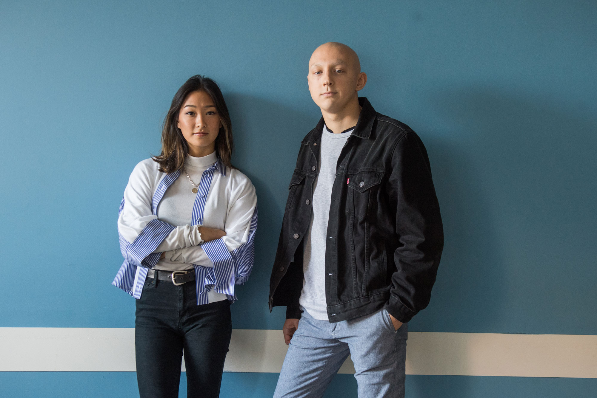 Portrait of Kaitlin Tsai and Sean Doherty (Questrom'20) developers of the app Hang