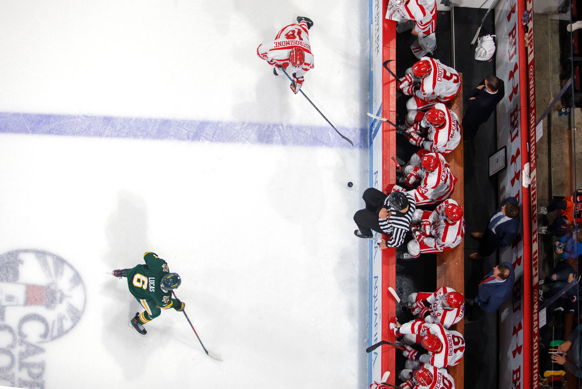 A birds-eye view of the men's hockey team during a game