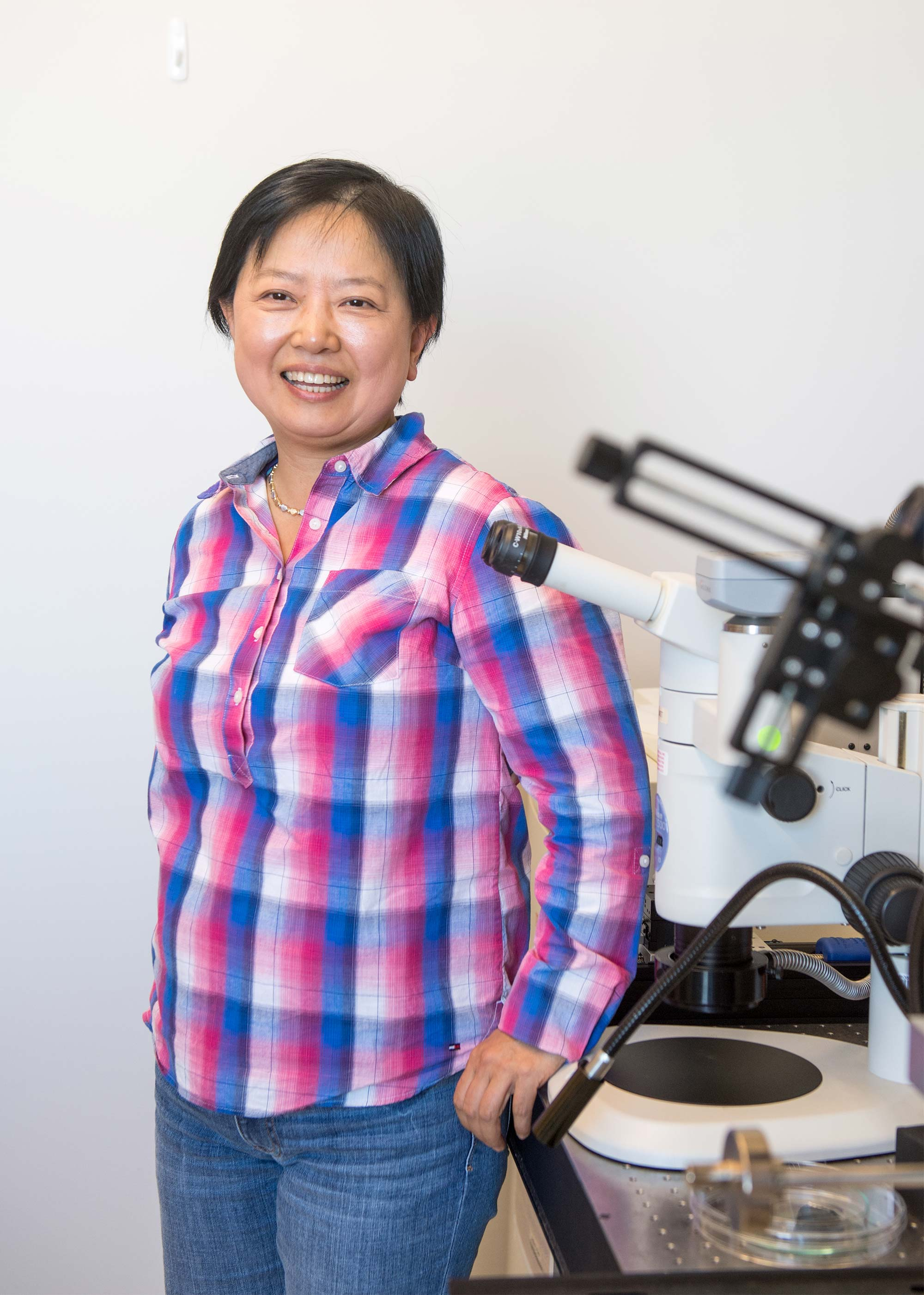 Boston University Professor of Engineering, Xin Zhang, poses for a portrait in her lab.