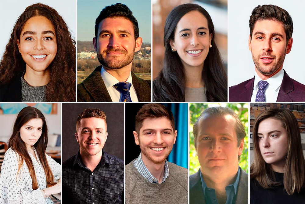 Composite image of headshots of Boston University alumni on the 2020 Forbes 30-Under-30 list.