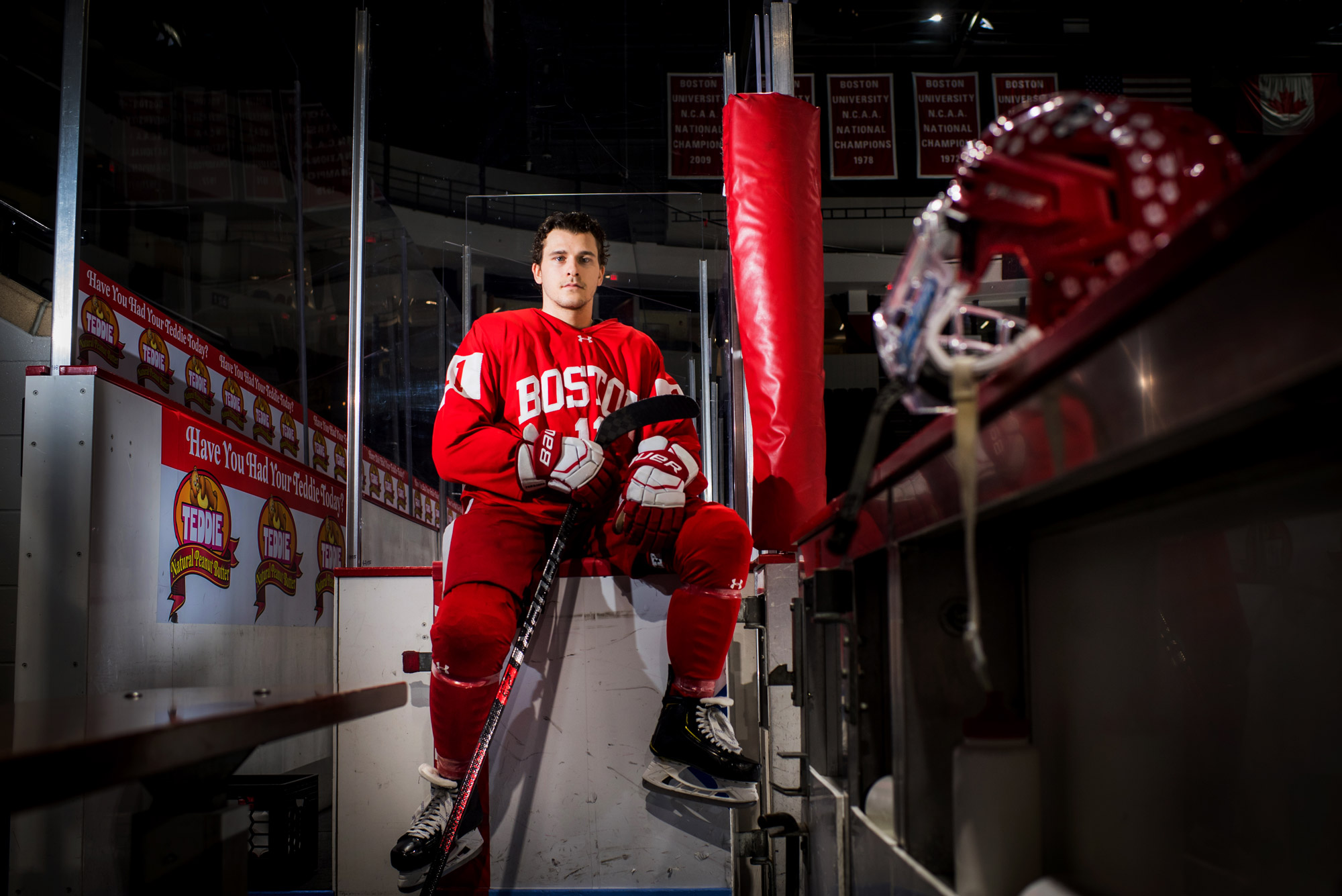 A portrait photo of Terrier men's ice hockey captain Patrick Curry.