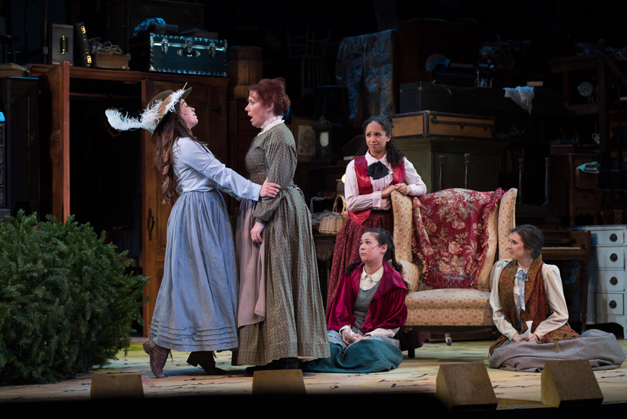 "A photo of the ""Little Women: The Broadway Musical"" production with the characters Jo, Amy, Beth, Meg and Marmee."