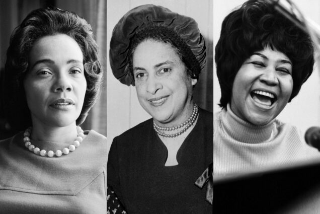 (left to right) Black and white photos of Coretta Scott King, Sue Bailey Thurman, and Aretha Franklin