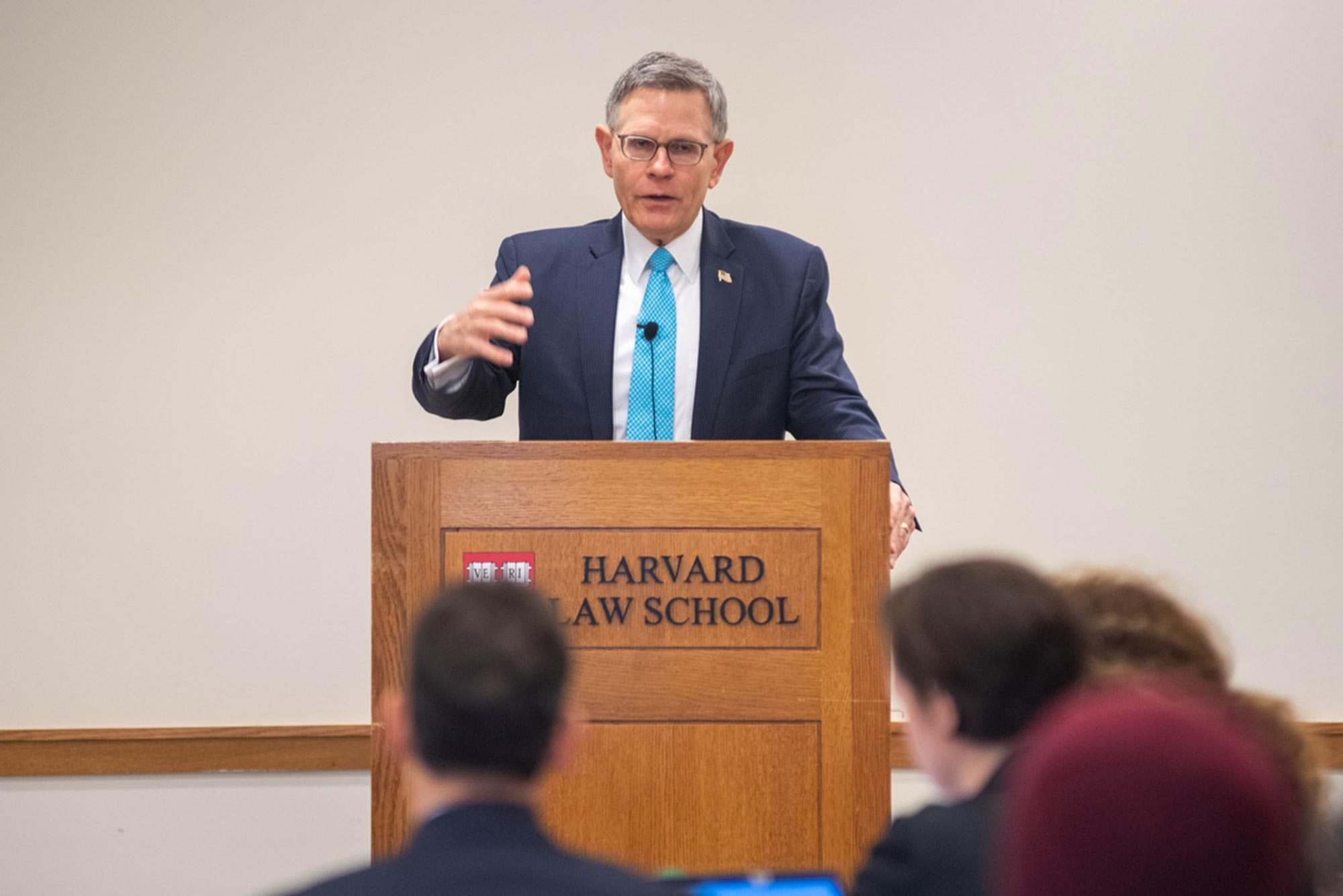 Trump Administration Science Advisor Kelvin K. Droegemeier talks to Boston research officials at the Harvard Law School.