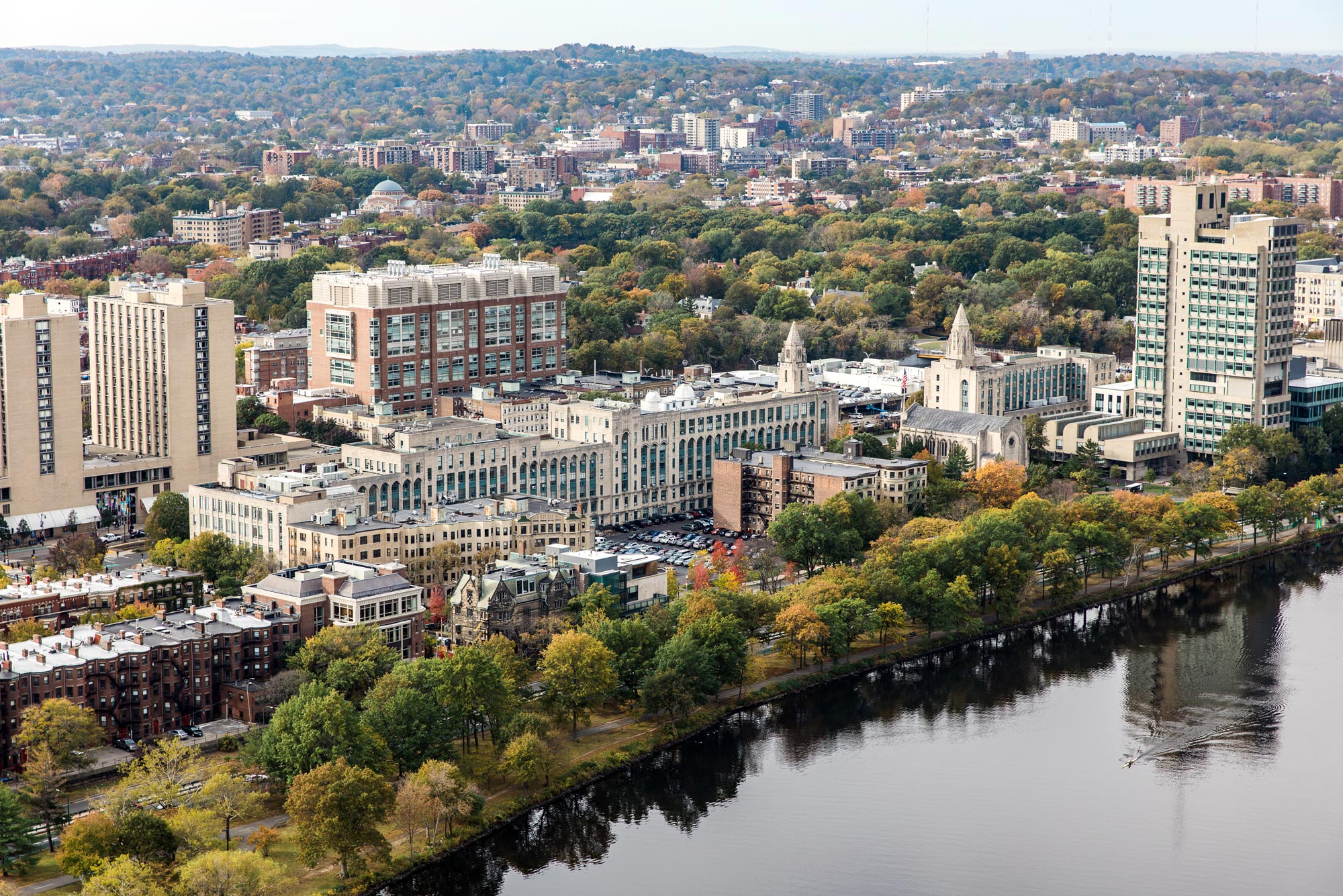 An aerial photo of the Charles River Campus.