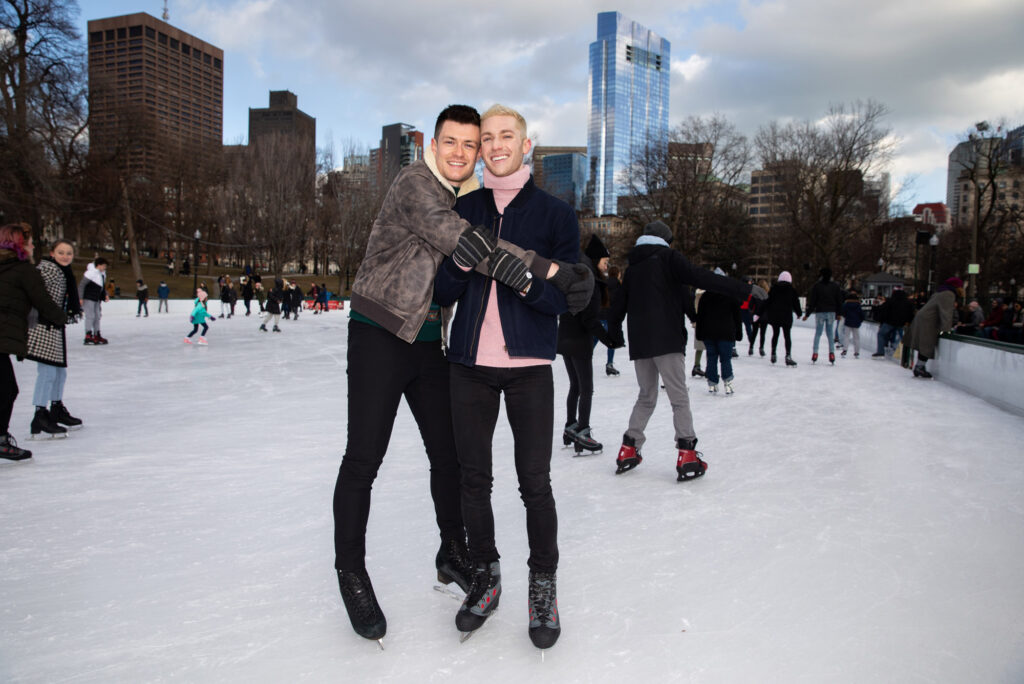 Jimmy Morgan (COM'14) (left) and Jason Kashdan (COM'14) skating on the Boston Common Frog Pond