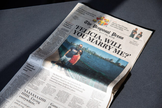 "A mock newspaper with a headline asking ""Felicia, Will You Marry Me?"""