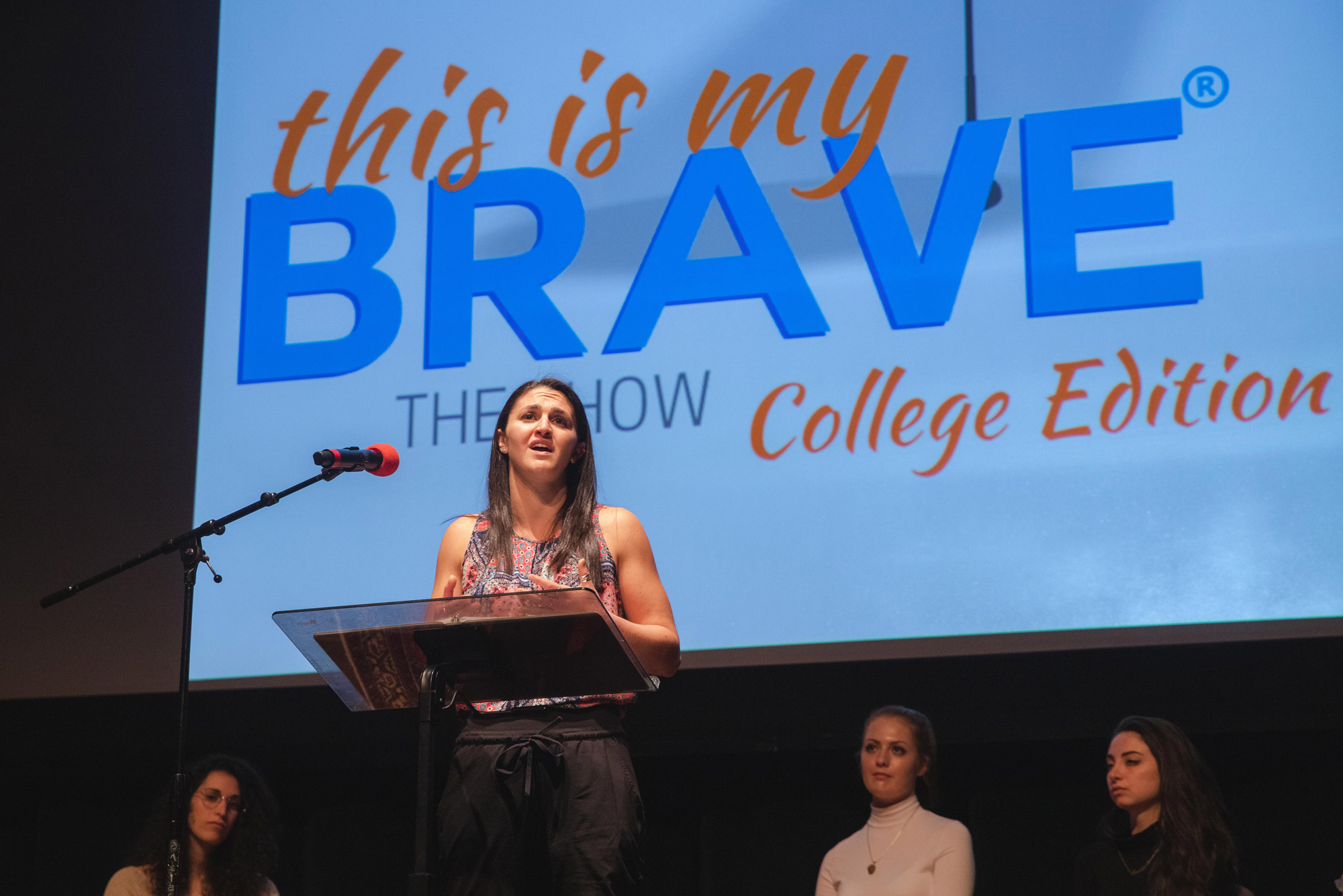 "A photo of Ali Gold (SAR'20) sharing her experience of studying and struggling with mental health issues during the ""This is My Brave,"" storytelling performance at the Tsai Performance Center"