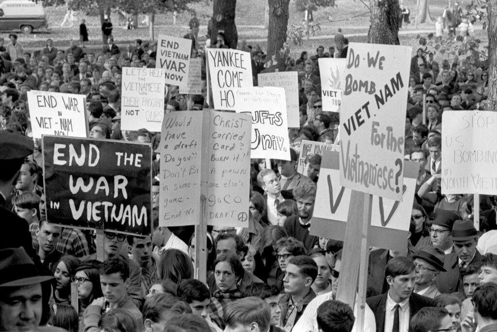 A photo of a protest against the Vietnam War on Boston Common in 1965.