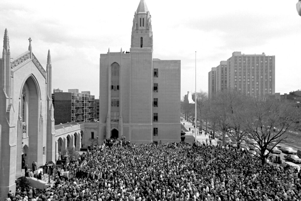 A photo of a vigil at Marsh Plaza following the assassination of Martin Luther King Jr in 1968