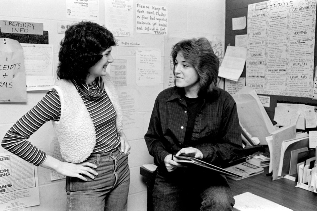 A photo of students at BU's Women's Center in 1980