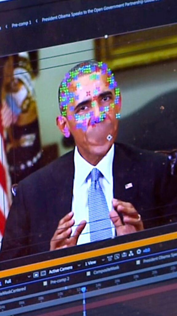 A photo of a fake video of President Barack Obama.