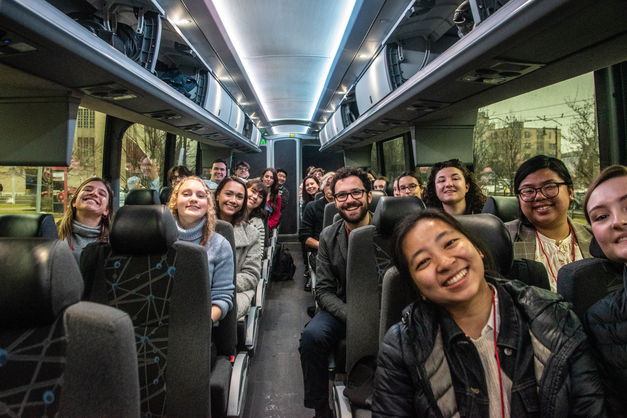 A busload of students from the College of Communication on their way to report on the New Hampshire primary.
