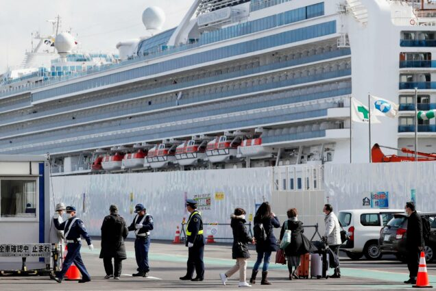 A photo of passengers on the coronavirus-infected Diamond Princess cruise ship .