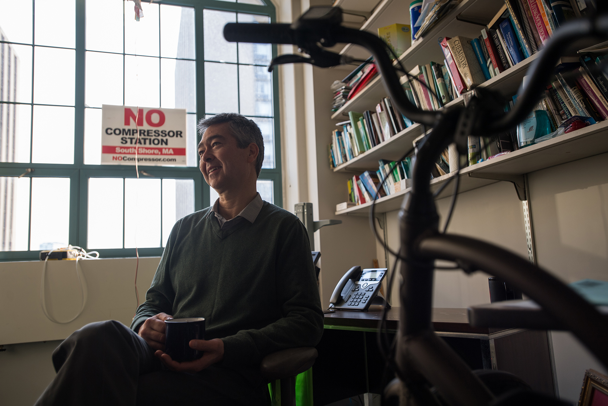 Nathan Phillips in his office February 4, a week into his hunger strike.