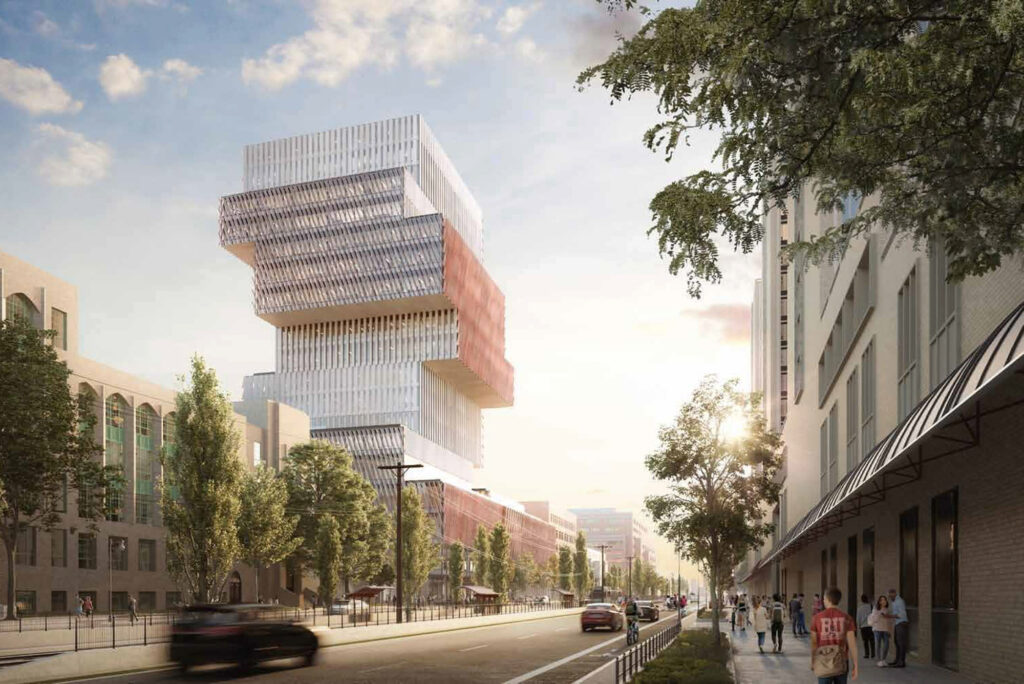 A rendering of BU's Center for Computing & Data Sciences as seen from Comm Ave.