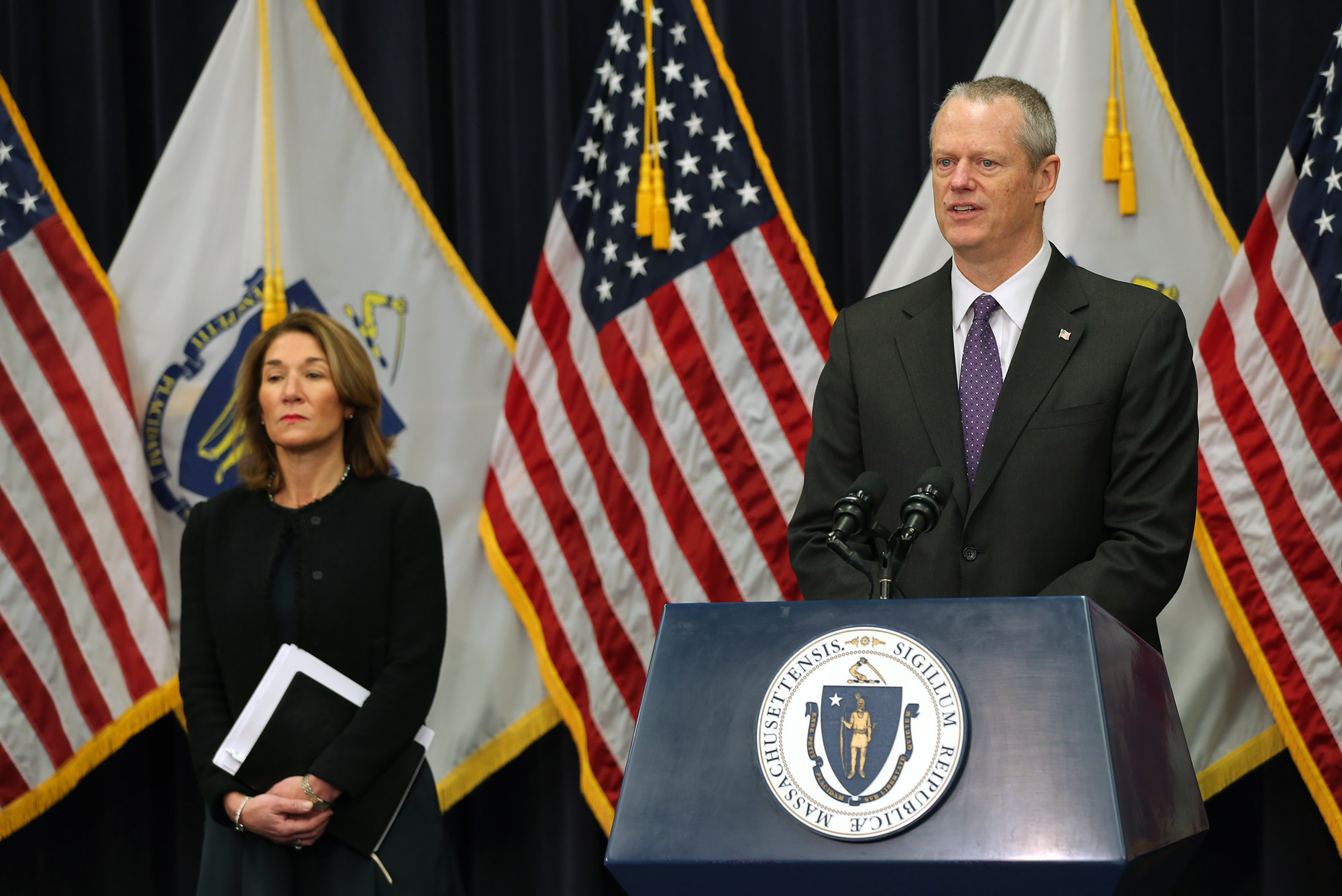 A photo of Massachusetts Gov. Charlie Baker at his March 23, 2020 press conference