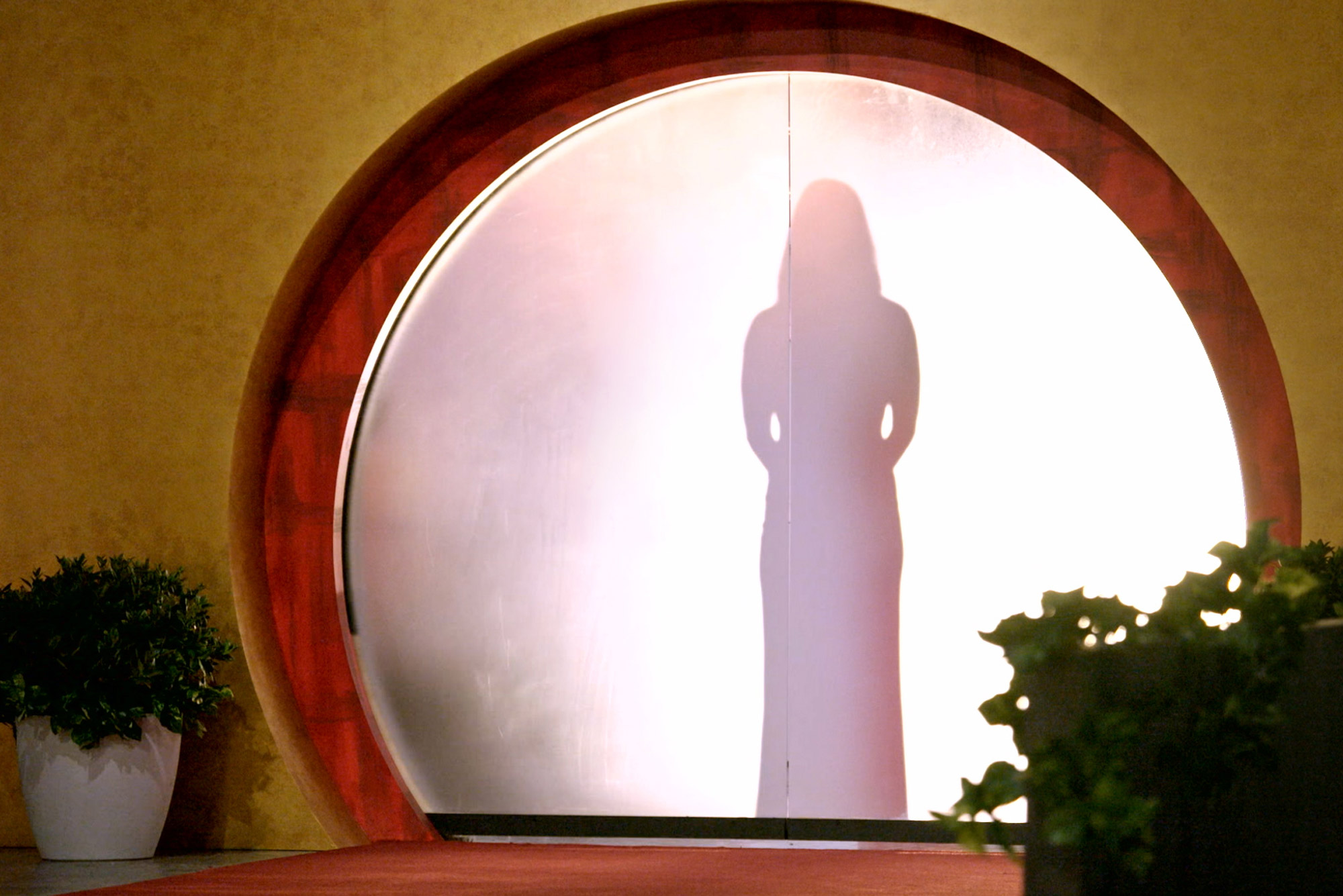 "A photo of a silhouette of a woman behind a screen from the show ""Love is Blind"""