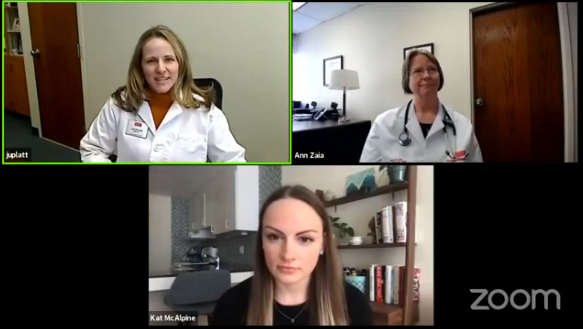 Dr. Judy Platt, Boston University Director of Student Health Services, and Dr. Ann Zaia, Boston University Director of Occupational Health Services, and Kat McAlpine, Editor of The Brink, participate in a Facebook Live conversation about COVID-19