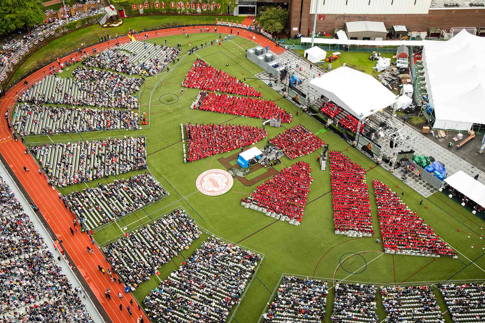 Aerial view of the 2019 Boston University Commencement on Nickerson Field on May 19, 2019.