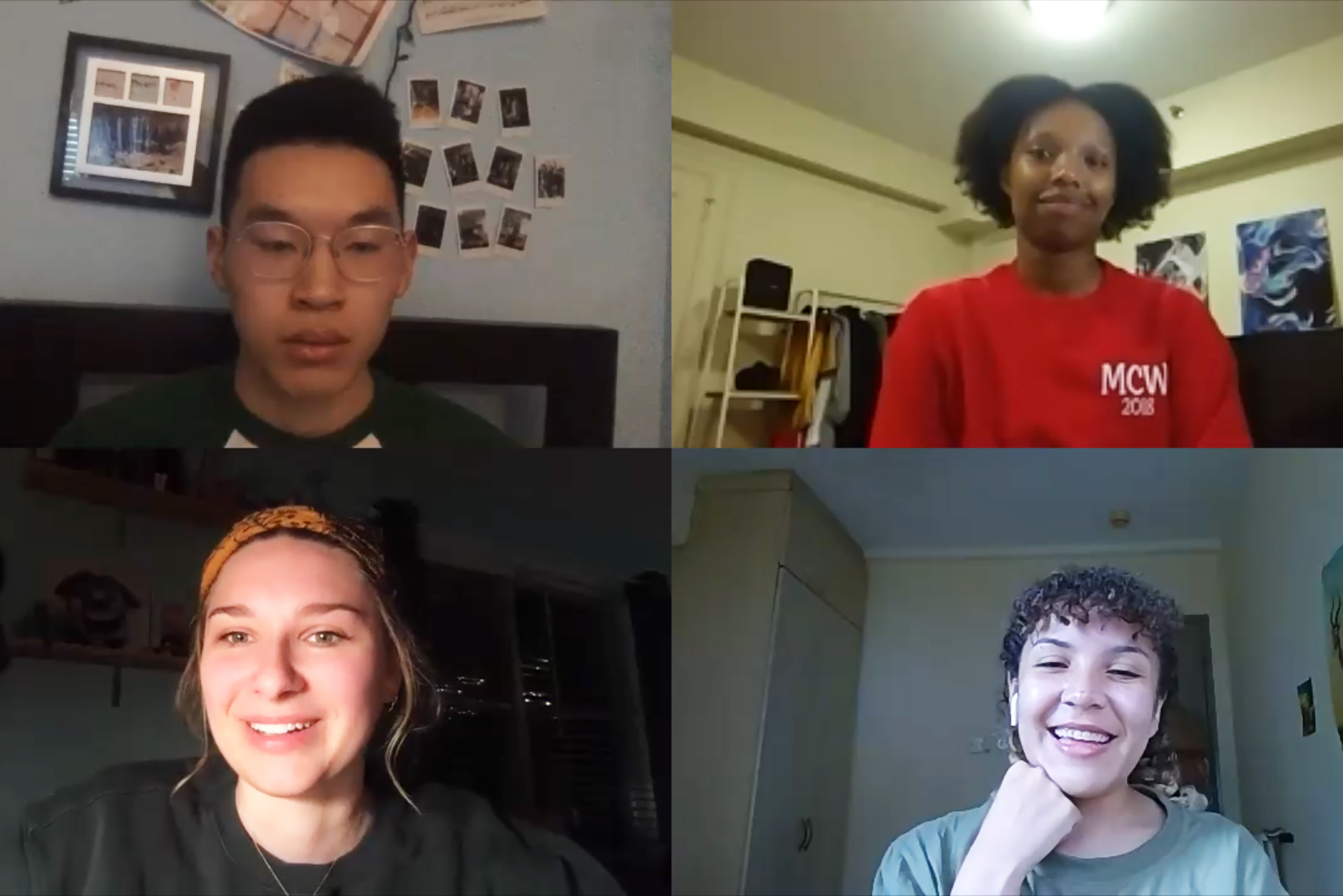 Still of four students, Joshua Pei (CAS'21), Morgan Moscinski (CFA'21), Michelle Njoroge (CAS'20), and Rownyn Curry (CAS'21) on a Zoom call from a video in which the students discuss the new normal, learning remotely.