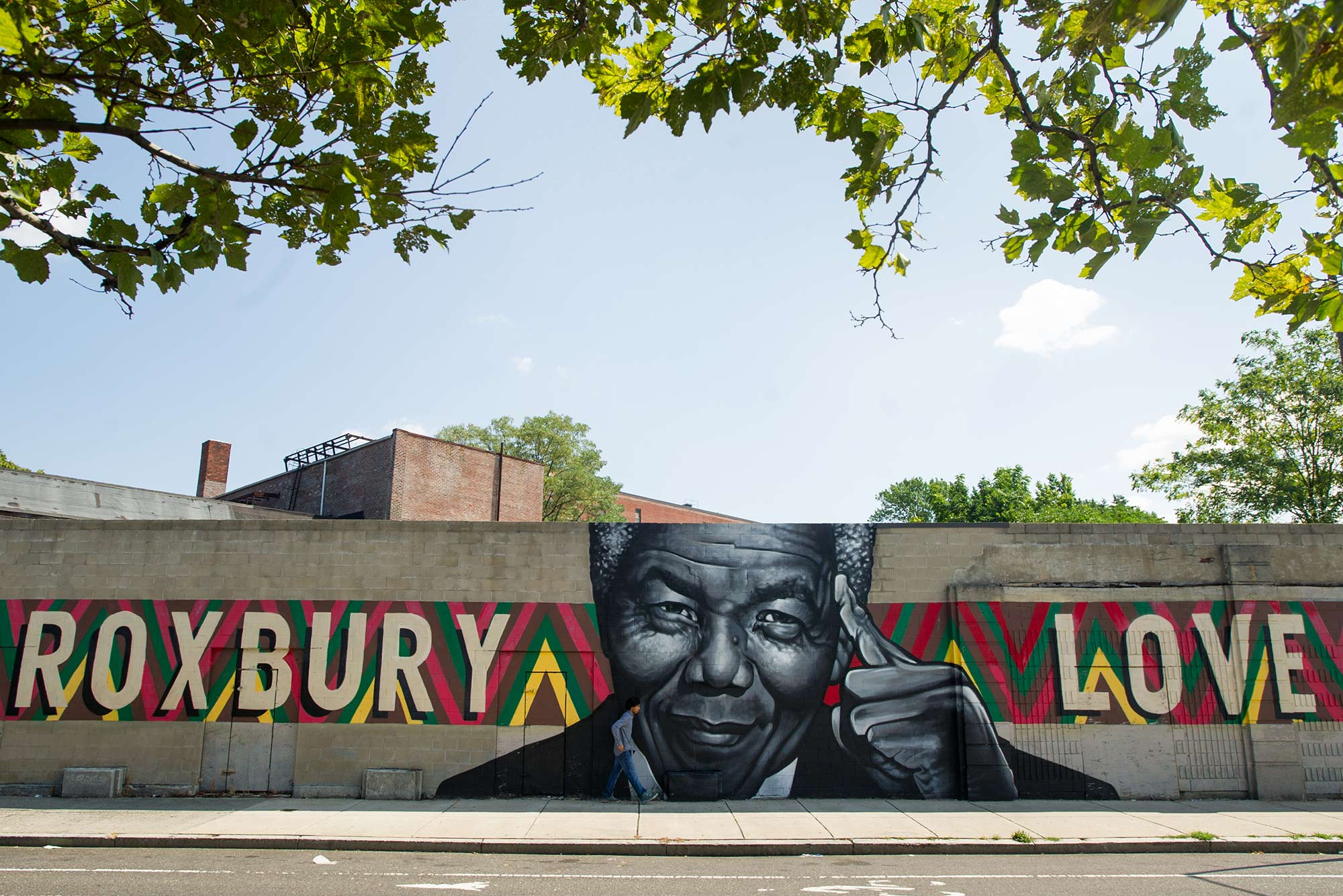 Photo of The Nelson Mandela mural, at the intersection of Warren and Clifford Streets on a sunny day.