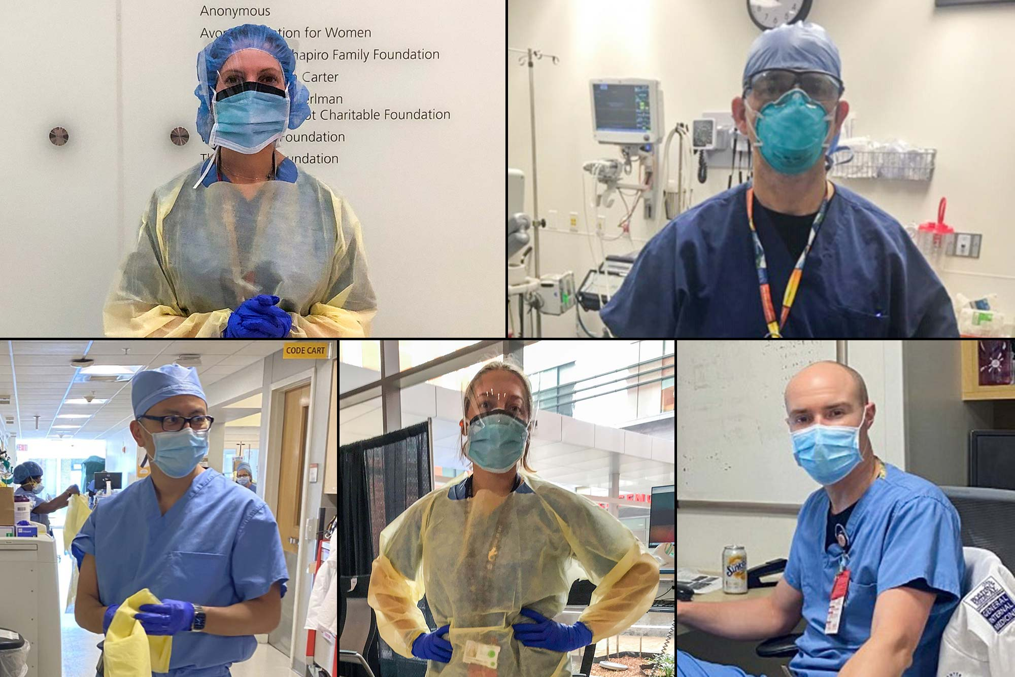 Composite image of photos of Boston Medical Center doctors Kristen Goodell, Evan Berg, Michael Ieong, Sarah Kimball, and James Hudspeth