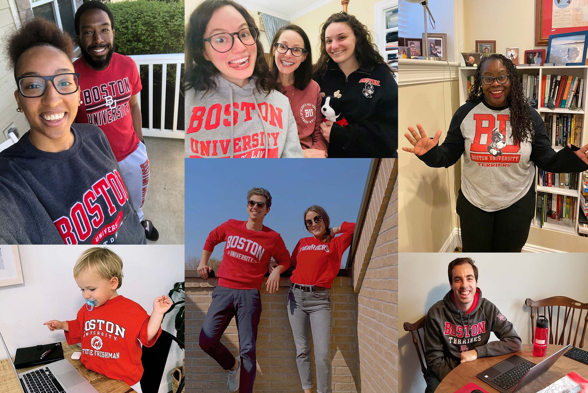 Composite image of terriers dressed in their best BU gear for #TerriersTogether, a daylong online pep rally celebrating all things Boston University.
