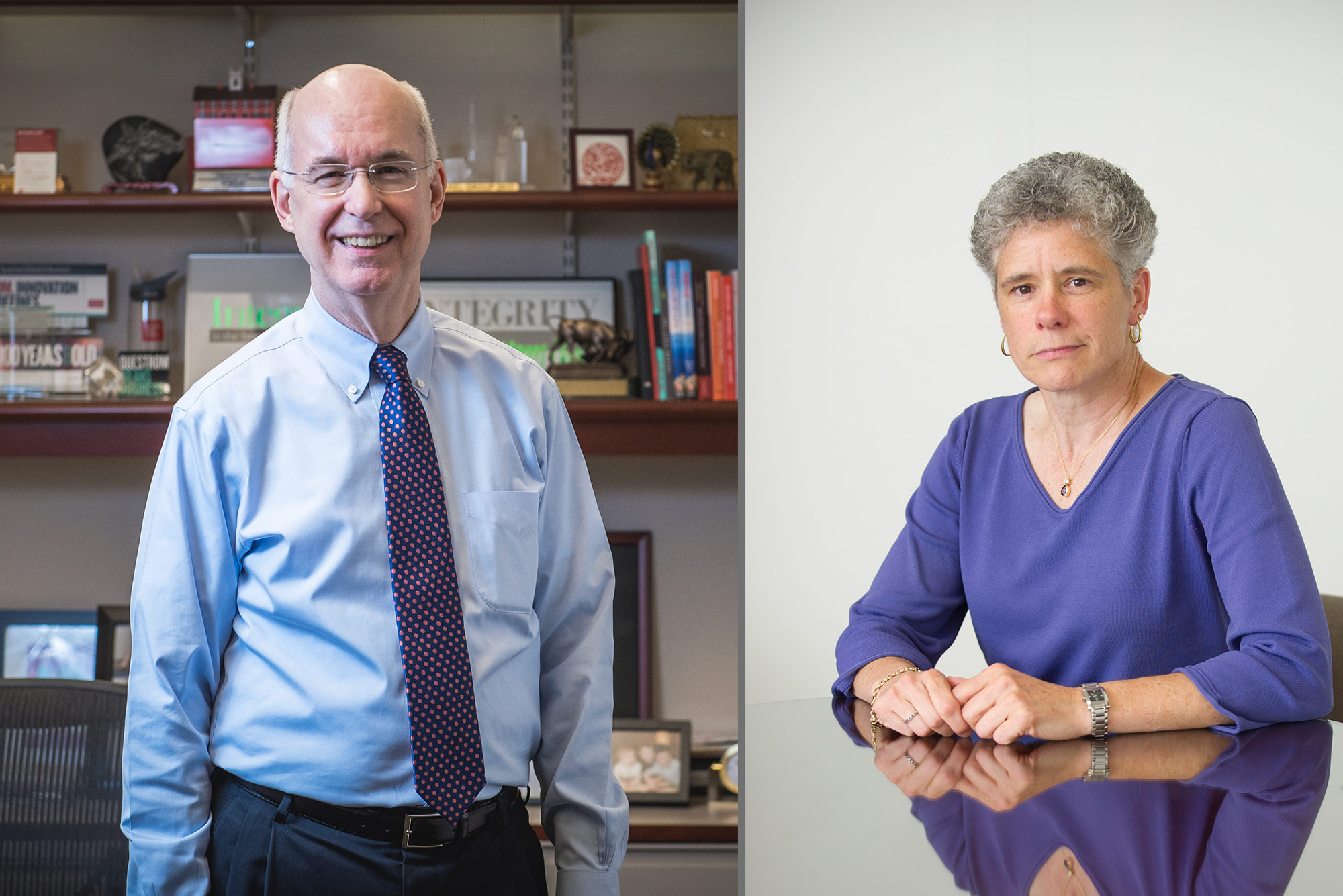 Left, Kenneth Freeman, BU Questrom School of Business dean emeritus and a professor of the practice, has replaced Diane Tucker (right) as BU's Human Resources chief until a permanent successor is named. Freeman photo by Jackie Ricciardi; Tucker photo by Cydney Scott