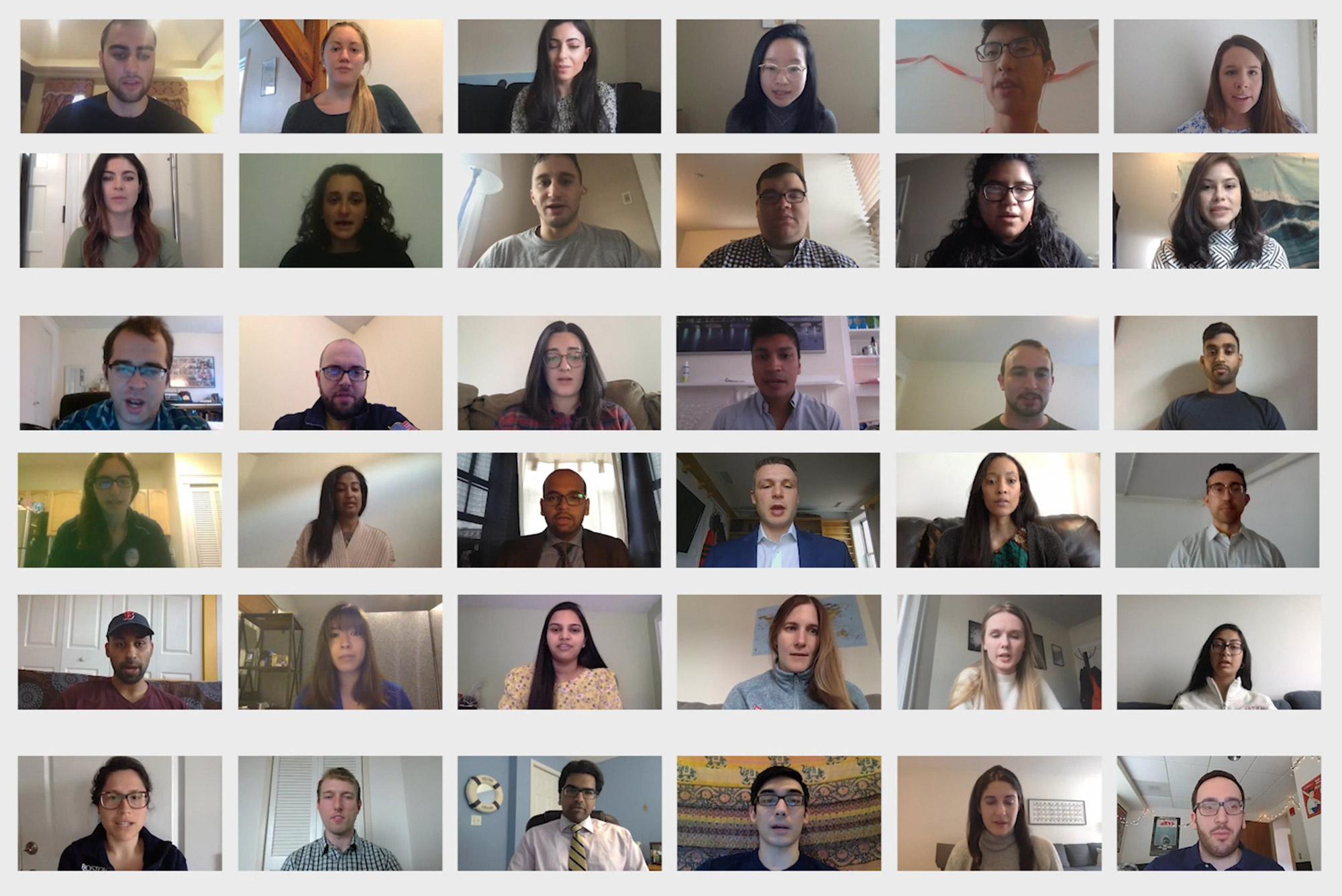 A photo of students taking the hippocratic oath via Zoom