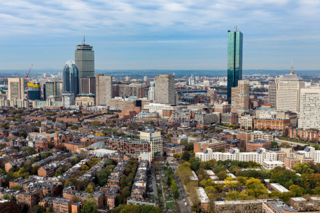 An aerial photo of Boston
