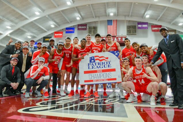 A photo of the BU Men's basketball team celebrating their Patriot League title