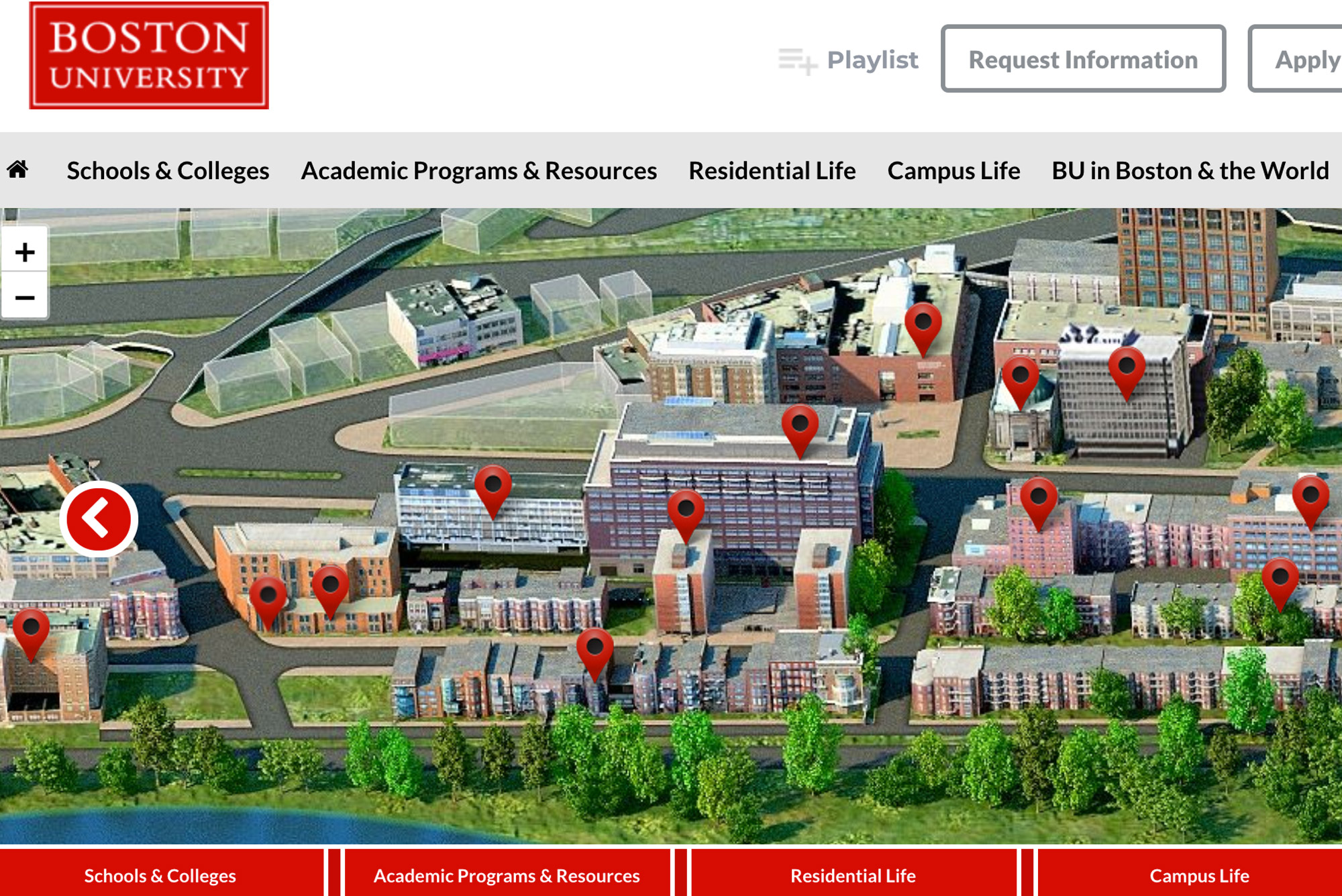 A screenshot of a virtual tour of the BU campus