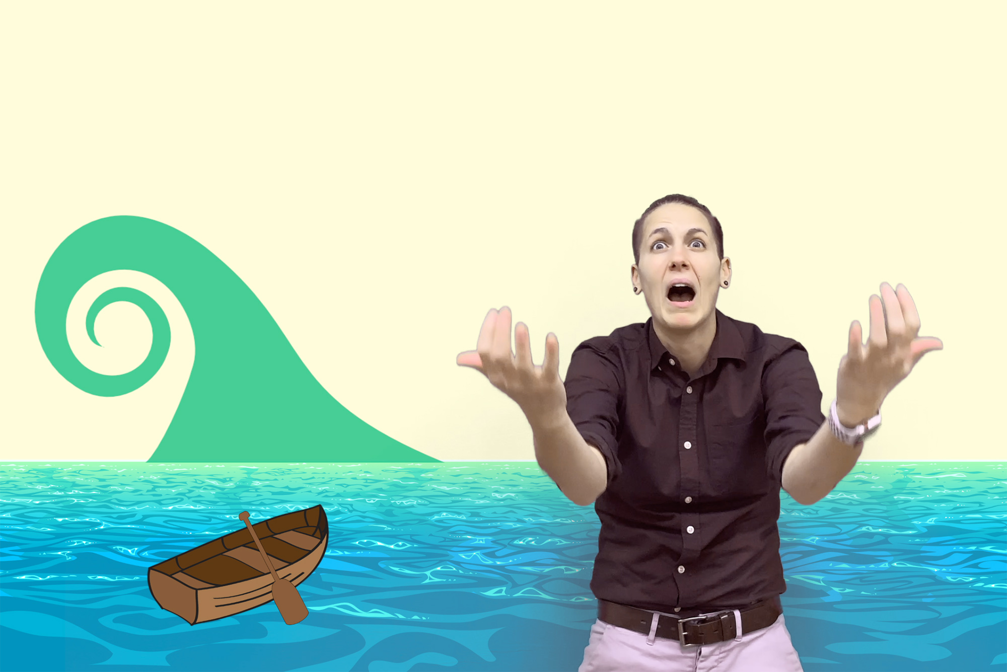 "Screenshot of Aiken Bottoms from her ""Building a Boat"" lesson that's included on the Deaf Education Library, a new resource for deaf children. A cartoon boat and wave are seen behind Aiken, who looks shocked as the wave approaches in the story."