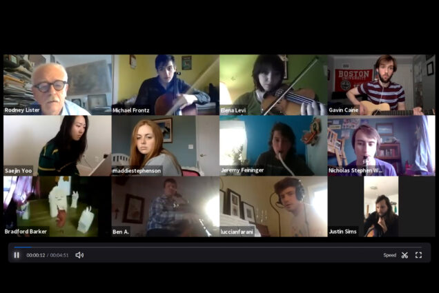 Gallery view of a Time's Arrow rehearsal conducted on Zoom. Students sit playing instruments or waiting. Photo courtesy of Rodney Lister